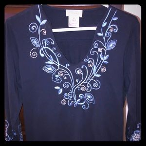 Beautiful Embroidered top v-neck dark navy